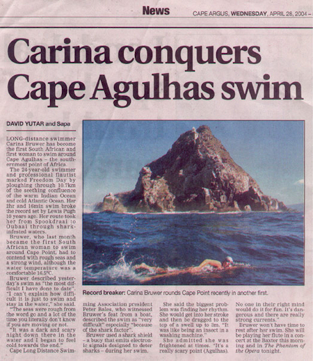 Bruwer swims southern-most Africa record