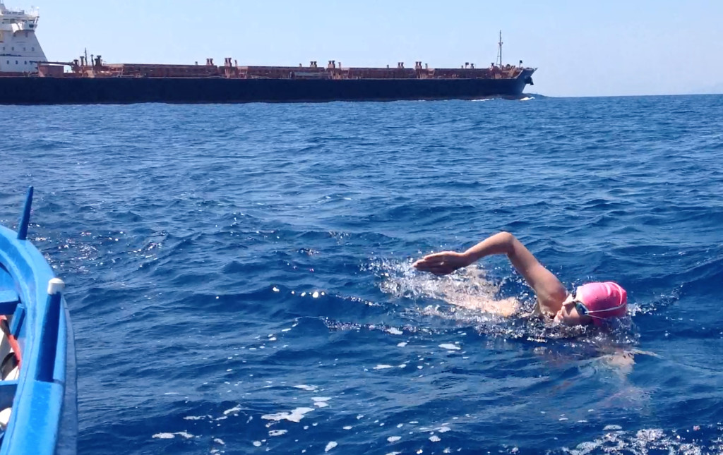 Carina swims Messina Straits Quadruple