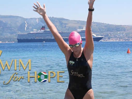 Carina completes 2 extreme back to back Swim For Hope marathons in Italy